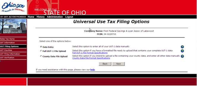 Universal Use Tax Filing Options